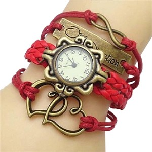 Other Boho Flower Dial Double Heart INFINITY OneDirection Red Multiwrap Leather Weave Band Bracelet Watch