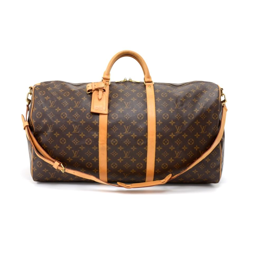 louis vuitton keepall vintage 60 bandouliere monogram duffel brown canvas weekend travel bag. Black Bedroom Furniture Sets. Home Design Ideas