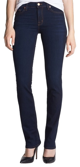J Brand Cigarette Date Night Night Out Midrise Straight Leg Jeans-Dark Rinse
