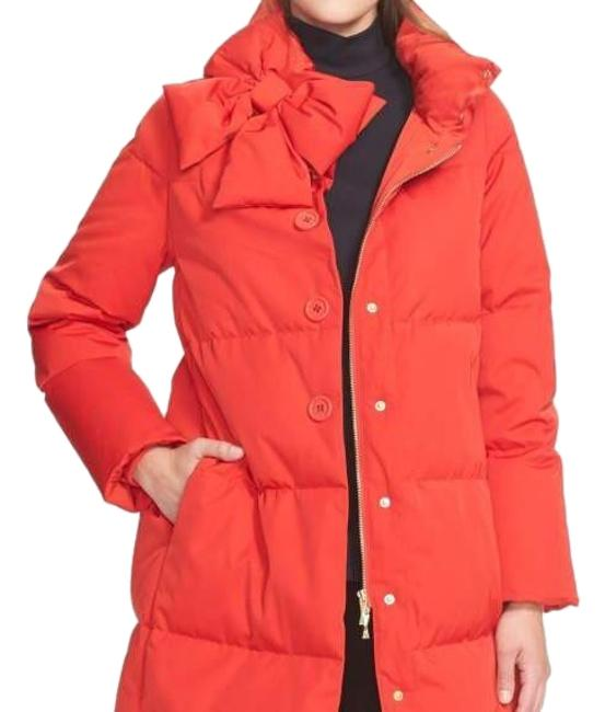 Item - Red Funnel Neck Puffed Coat Size 8 (M)