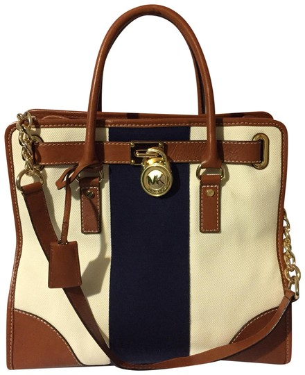 Preload https://img-static.tradesy.com/item/22905875/michael-kors-hamilton-e-1401-brownbeigeblue-leathercanvas-satchel-0-1-540-540.jpg