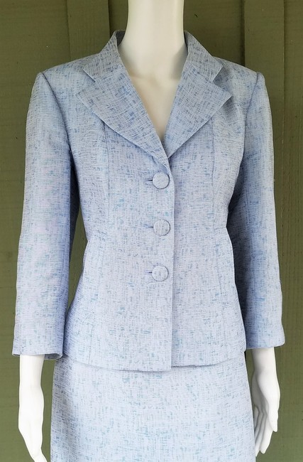 Kay Unger KAY UNGER Blue Tweed Career Skirt Suit 6 Flounce
