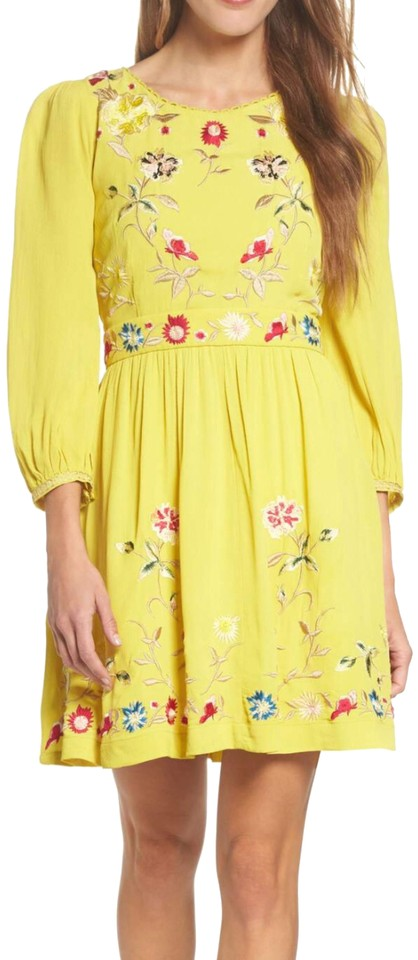 432fe31092c9 French Connection Yellow Saya Embroidered Crepe Fit and Flare Night Out  Dress