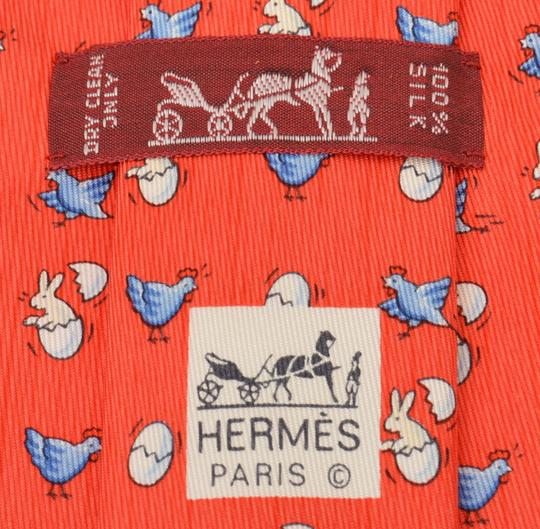 Hermès Red Paris Chicken Egg Silk Necktie Made In France Tie/Bowtie