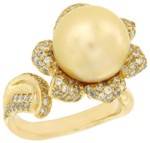 Luxo Jewelry 11 mm Golden South Sea Pearl & 0.89 CT Diamonds in 14K Yellow Gold