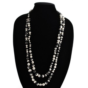 Chanel CHANEL PEARL NECKLACE - NEW 2016 CC LONG DOUBLE STRAND GRAY & SILVER -
