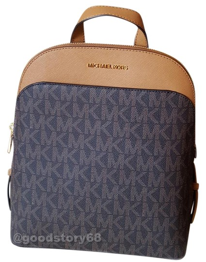 4bbcbfab35c9 michael kors emmy brown acorn signature coated leather trim backpack 40%  off retail. TRADESY
