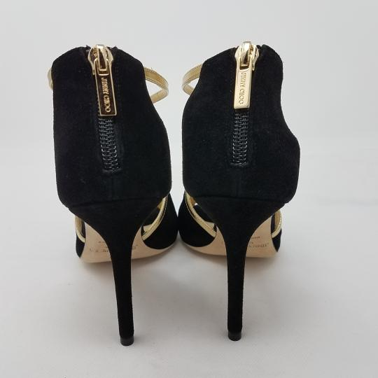 Jimmy Choo Suede Metallic Hardware Peep Toe Fey Black, Gold Pumps