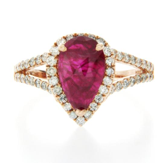 Luxo Jewelry 1.13 Rose Cut Ruby & 0.90 CT Diamonds in 14K Rose Gold Teardrop Ring