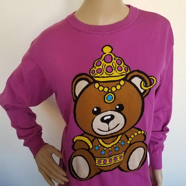 Moschino Bear Monogram Animal Print Embroidered Logo Sweater