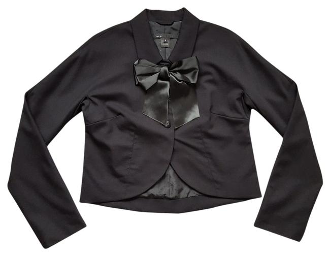 Marc Jacobs Black Stretch Wool Front Bow Bolero Cropped Jacket Blazer Size 6 (S) Image 0