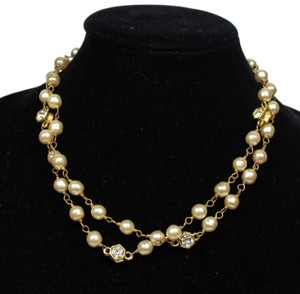 "Chanel CHANEL CRYSTAL PEARL NECKLACE - VINTAGE 36"" GOLD CHAIN RHINESTONE PEND"