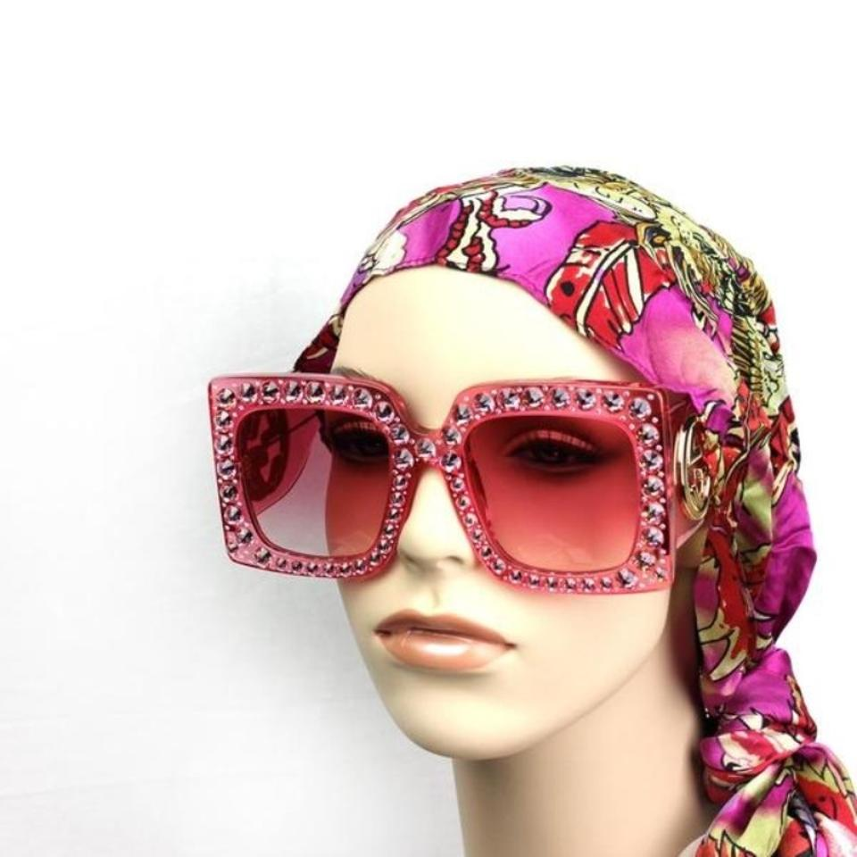 9b2c7c532be11 Gucci Gucci 0145 Oversize Square-frame Acetate with Pink Lenses Sunglasses  Image 7. 12345678