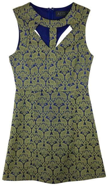 ASTR Green Blue Brocade A Line Mini Short Night Out Dress Size 4 (S) Image 0