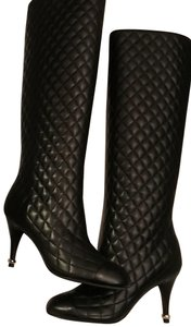 Chanel Quilted Classic Silver Cc Logo black Boots