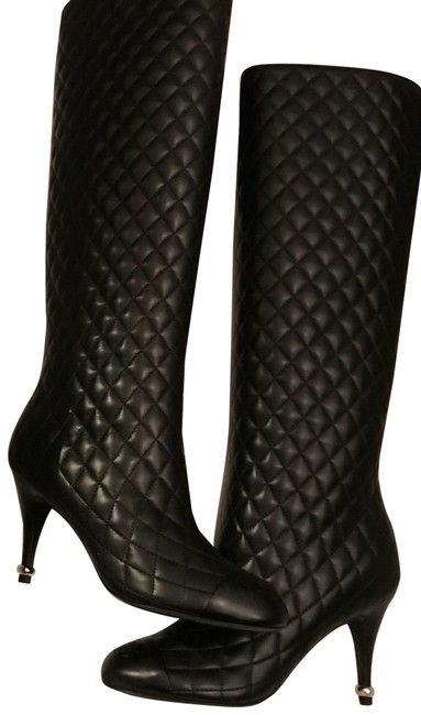Chanel Black Quilted Lambskin Tall Boots/Booties Size US 6 Regular (M, B) Chanel Black Quilted Lambskin Tall Boots/Booties Size US 6 Regular (M, B) Image 1