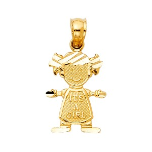 Top Gold & Diamond Jewelry 14K Yellow Gold Girl Pendant
