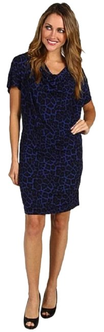 Preload https://img-static.tradesy.com/item/22906632/michael-michael-kors-blue-and-black-saphire-leopard-print-drapeneck-mid-length-workoffice-dress-size-0-1-650-650.jpg