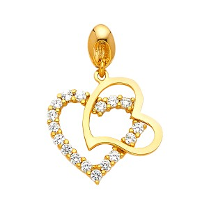 Top Gold & Diamond Jewelry 14K Yellow Gold CZ Double Heart Pendant