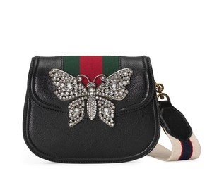Gucci Linea Butterfly Crystal Shoulder Bag