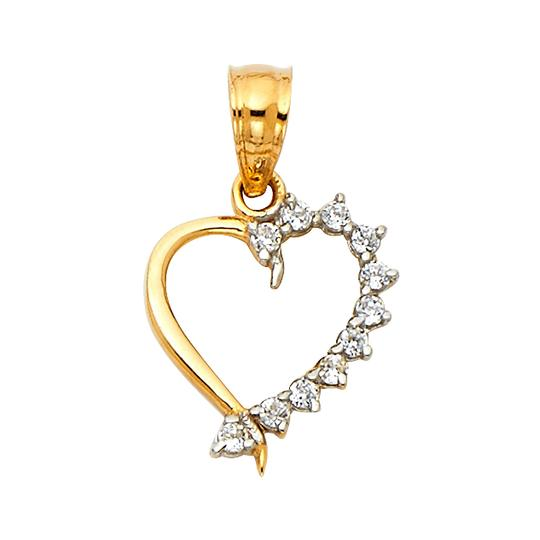 Top Gold & Diamond Jewelry 14K Yellow Gold CZ Heart Pendant