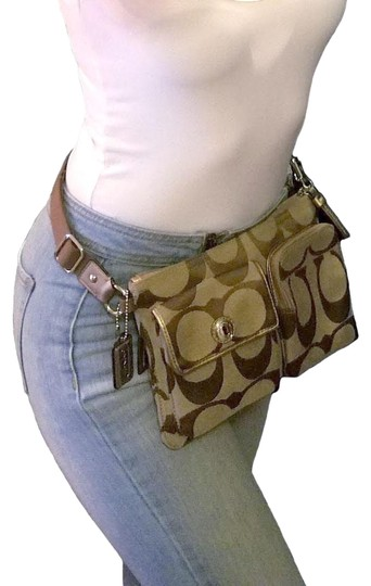 Coach                        Waist Bag Fanny Pack Signature Travel Pouch Hip Purse Brown Jaquard Baguette