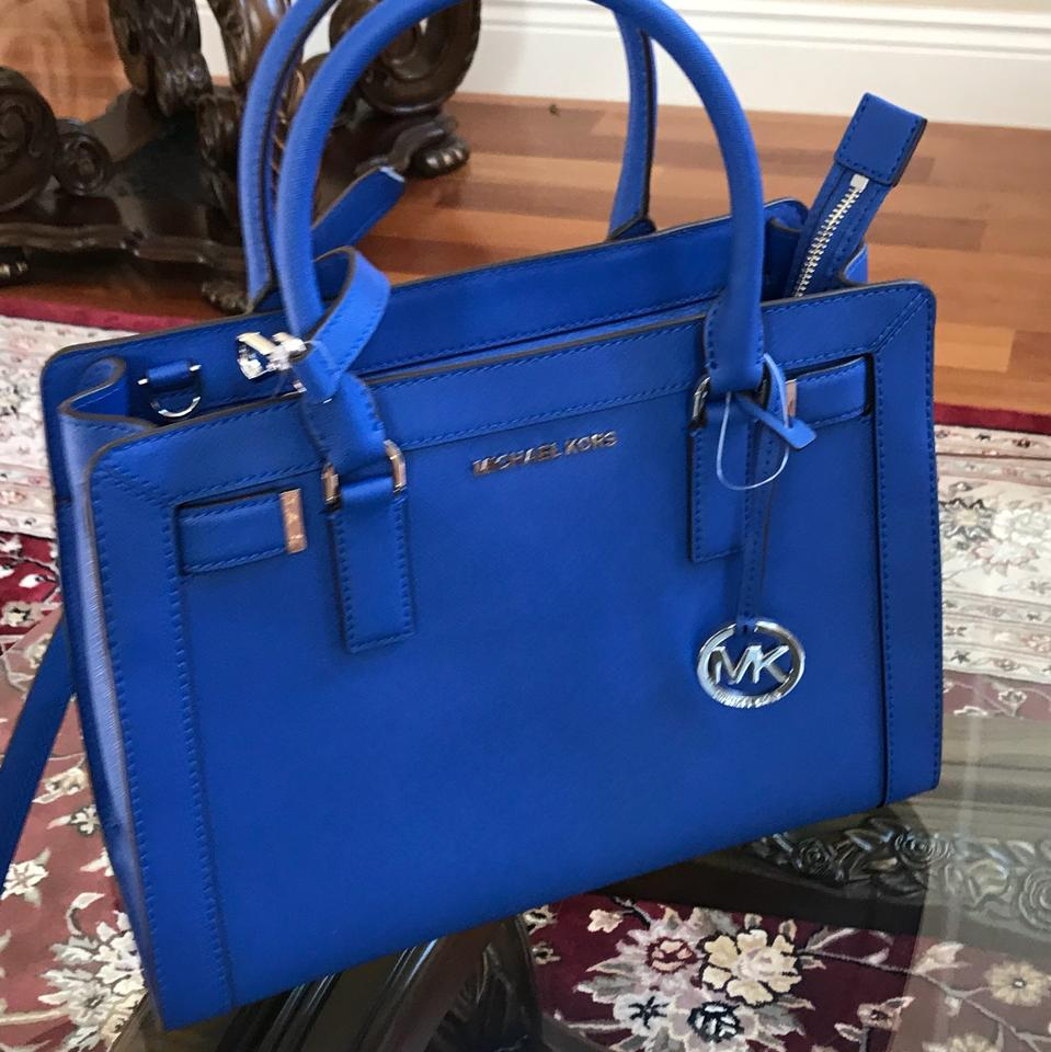 a785a3face78 Michael Kors Dillon Crossbody Strap Medium Leather Satchel in electric blue  Image 11. 123456789101112