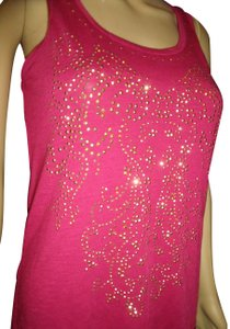 Dots Studded Bling Sparkle Heather Yoga Top Pink