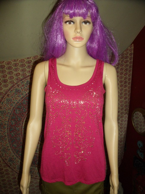 Dots Studded Bling Sparkle Heather Holiday Top Pink