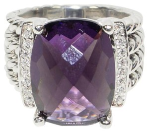 David Yurman David Yurman Wheaton St Silver Amethyst Diamonds Ring