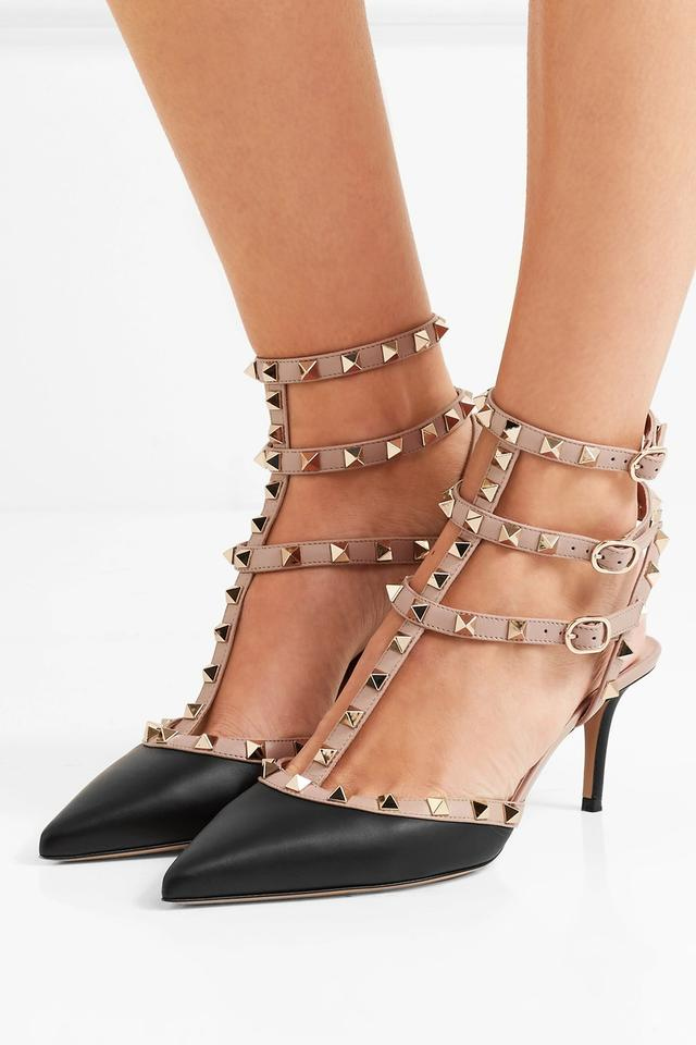 3d77c8a724b Valentino Rockstud Noir Poudre Smooth Calf Kitten black Pumps Image 9.  12345678910