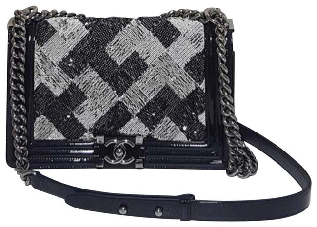 Chanel Boy Rare Sequin Medium Black Patent Leather Exterior Trimmed with Suede Silver Hardware and A Stunning Beaded Square Design. Shoulder Bag Chanel Boy Rare Sequin Medium Black Patent Leather Exterior Trimmed with Suede Silver Hardware and A Stunning Beaded Square Design. Shoulder Bag Image 1