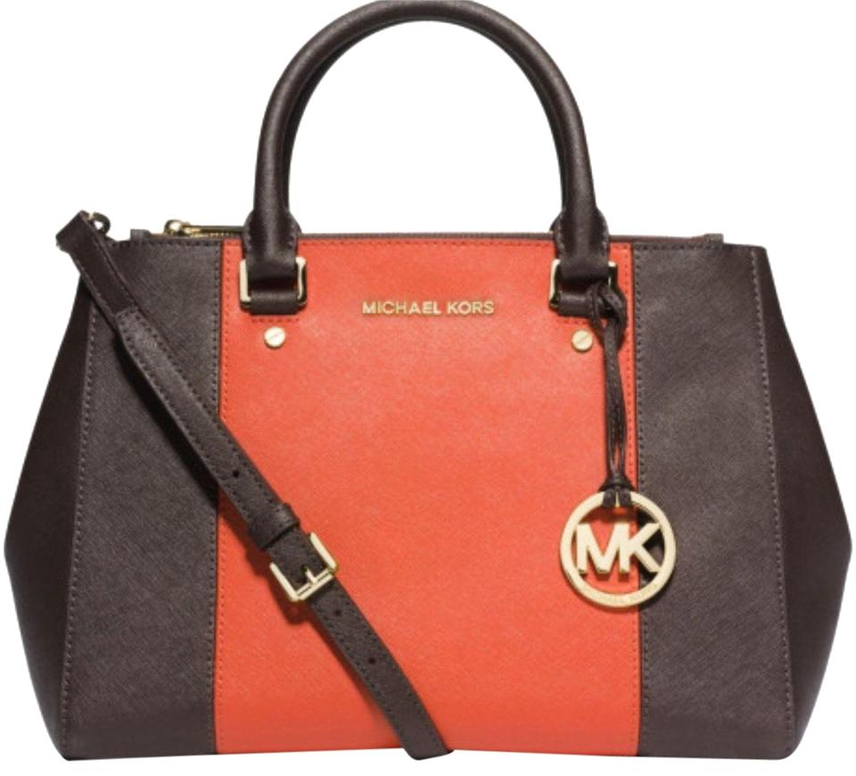 Michael Kors Colorblocked Tote Shoulder Cross Body Color Block Satchel in  Orange And Coffee Brown Image ... a08de476e541f
