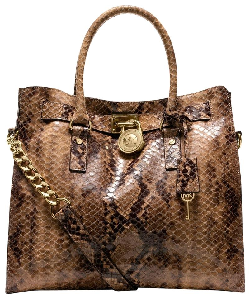 83cb20132a8a Michael Kors Snakeskin North South Convertible Shoulder Tote in Sand Brown  Image 0 ...