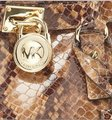 Michael Kors Snakeskin North South Convertible Shoulder Tote in Sand Brown Image 1