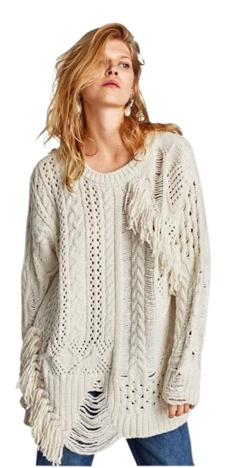 comprare on line a855d a003b Zara Knit Fringe Oversized Cream Sweater 12% off retail