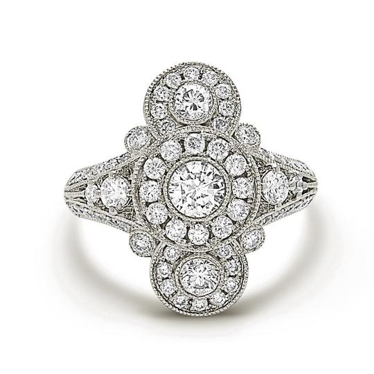 Other 14K white gold diamond fashion ring with pave bezel set
