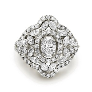 Other 14K white gold oval shape cocktail diamond ring with marquise cut