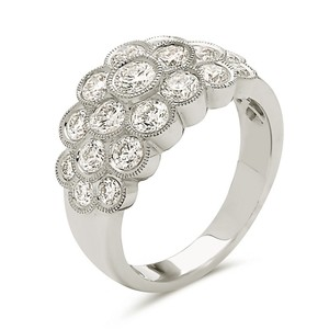 Other 18K white gold bezel set milgrain style fashion ring with round cut