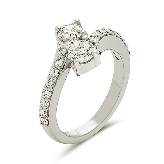 Other 14k white gold promise ring with 2 center round cut diamonds