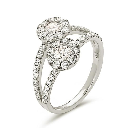 Other 18k white gold 2 stone halo style cocktail ring