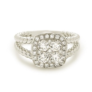 Other 18k white gold David Yurman style cushion halo cluster diamond ring