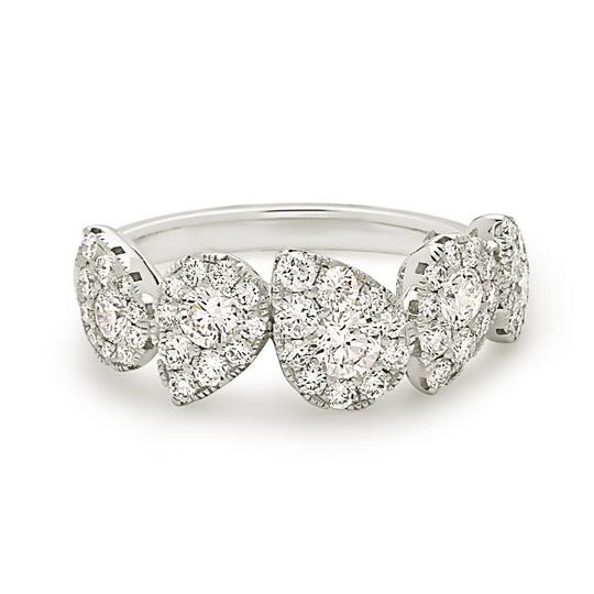 Other 18k white gold pear shape style halo diamond band
