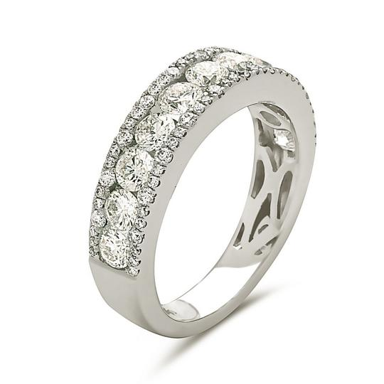 Other 18K white gold channel set diamond wedding band with 2 outer borders