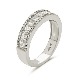 Other 18K white gold princess cut channel set band with outer 2 rows