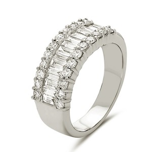 Other 18k white tapered baguette diamond band with outer round cut diamonds