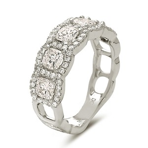 Other 18k white gold cushion cuts halo style 5 stone wedding band.
