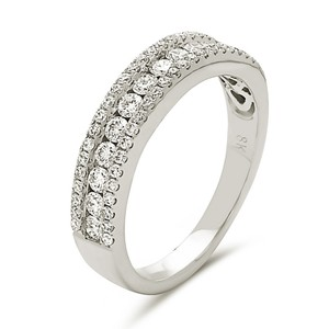 Other 18k white gold channel set band with 2 rows border of round cut stones