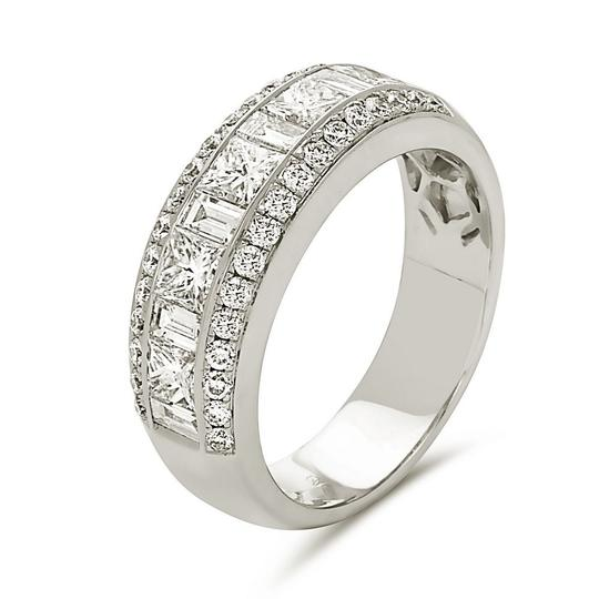 Other 18K white gold channel set alternating princess cut and baguette cut
