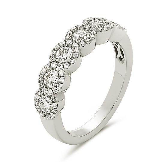 Other 18K white gold 5 stone micro pave round halo style wedding band
